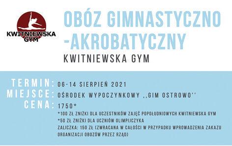 ZAPISY !!!! Ruszają zapisy na Obóz Gimnastyczno-Akrobatyczny Kwitniewska Gym, Ostrowo 2021